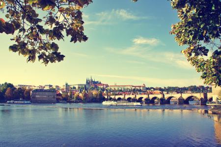 布拉格,水,桥梁
