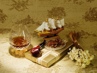 礼品,模型,烟斗,烟草,科涅克白兰地,船舶