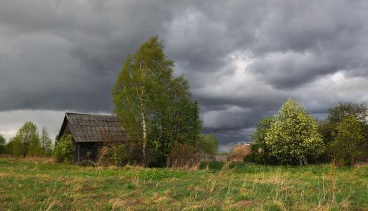 村庄,恶劣的天气,云,风,小屋