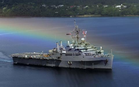 彩虹,船,战斗,海,舰队