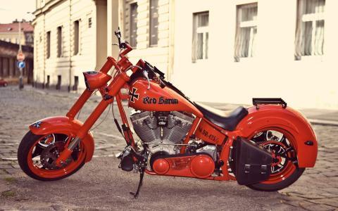 摩托车,红色男爵,红色