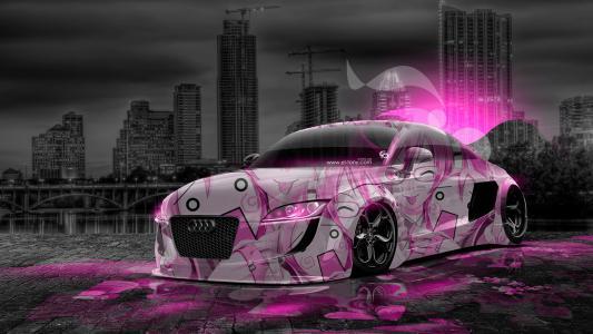 托尼·科汉,奥迪,TT,调整,动画,气象学,女孩,粉红色,霓虹灯,效果,风格,设计,艺术,城市,夜,高清壁纸,托尼柯恩,Photoshop,风格,气象,动漫