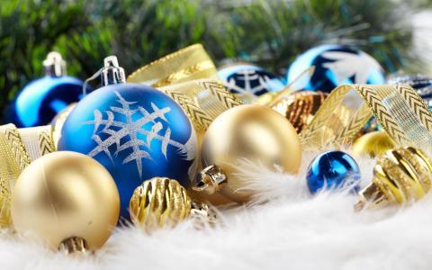 圣诞节,背景,设计,元素,球,丝带,新的一年
