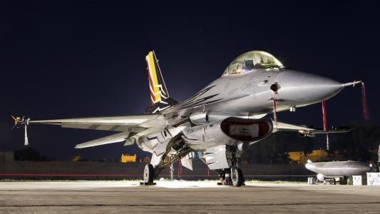 F-16AM,猎鹰,多用途,夜晚,灯光
