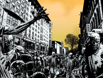 僵尸,街,人群,城市