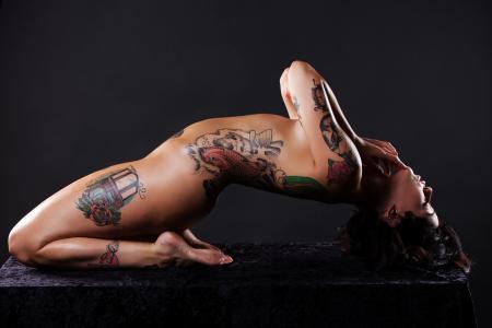 黑发,曝光,艺术,纹身,裸体,漂亮