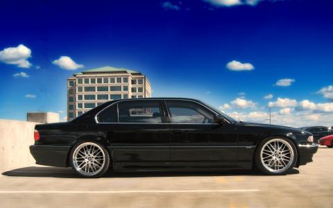 黑色,宝马,宝马,750,E38,七,自动照片,天空,蓝色,云,混凝土,停车