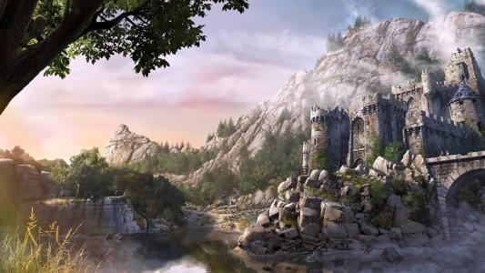桥,城堡,堡垒,河,树,山,石头