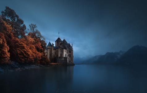 水,性质,树木,天空,城堡