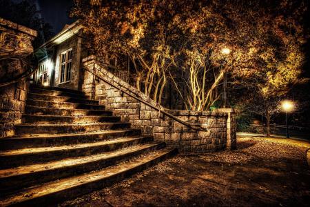 夜,楼梯,人类发展报告,公园,城市