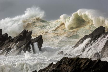爱尔兰,波浪,岩石,风暴,美女