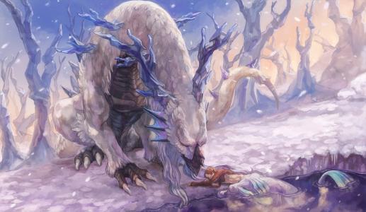 雪,角,精灵,尾巴,白色,龙,湖,森林
