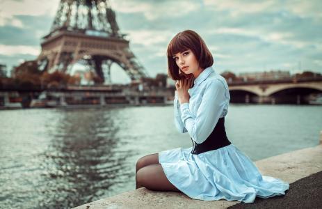 女孩,模型,摄影师,罗德·弗兰克,肖像,巴黎,河,桥