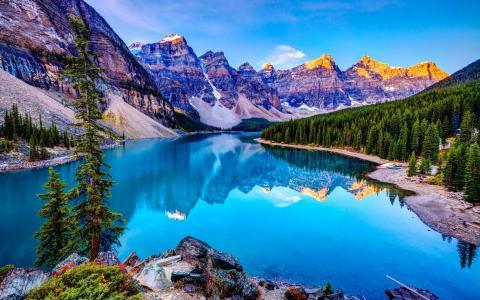 湖,秋天,山,树,叶子
