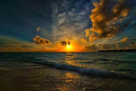 湾,海滩,海,波,早上,太阳