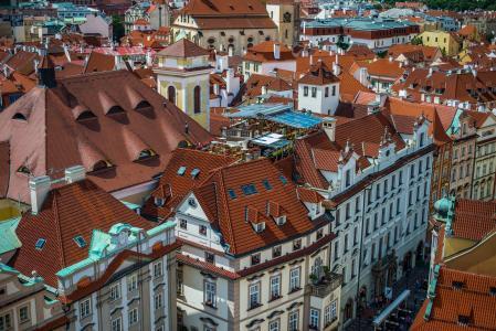街,布拉格,捷克共和国,房屋,全景,屋顶