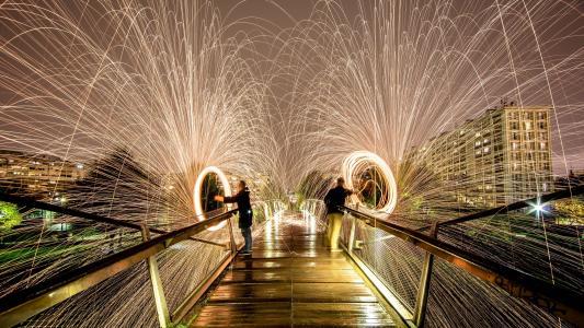 烟花,敬礼,晚上,美丽,在桥上