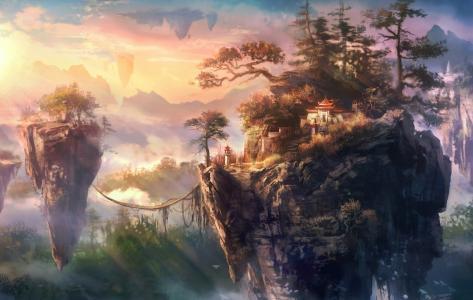 树木,岛屿,建筑物,岩石,亚洲,绳索,飞行
