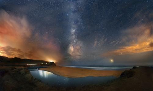 天空,夜晚,星星,海洋,海滩,银河