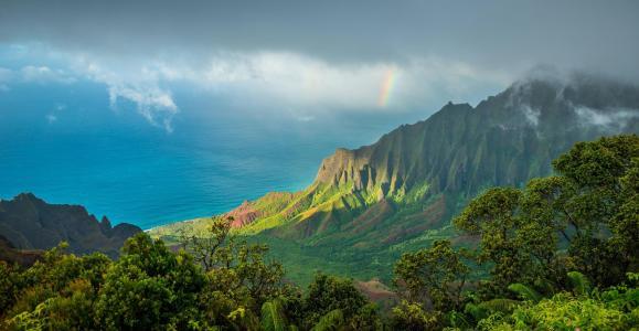 卡拉劳径,夏威夷,太平洋,云,山,自然
