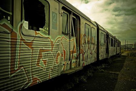 货车,涂鸦,涂鸦,火车,火车,废弃,荒地