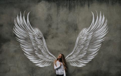 女孩,图像,天使,翅膀