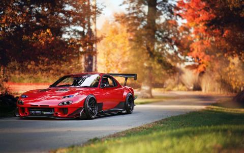 汽车,跑车,红色,马自达,日本,秋天