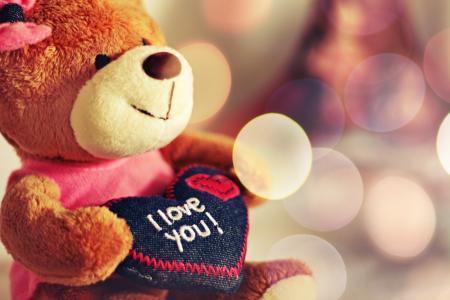 我爱你,泰迪熊,心,泰迪熊,玩具