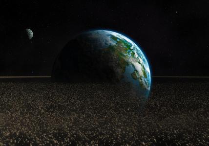 艺术,石头,地球,碎片,空间,小行星,行星