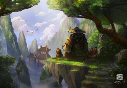 岩石,艺术,魔兽世界,熊猫人的薄雾,亚洲,熊猫,鸟类