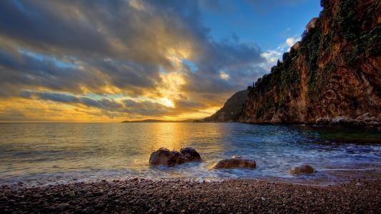 山,悬崖,海,卵石,石头