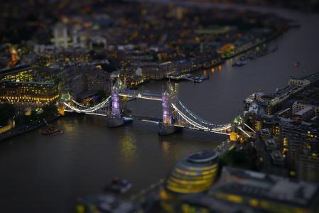 伦敦桥,城市,夜晚,Tiltshift,选择性焦点