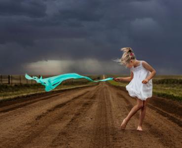 路径,微小,云,自由