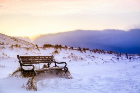 冰岛,冬天,雪,痕迹,天空,板凳,长凳,性质