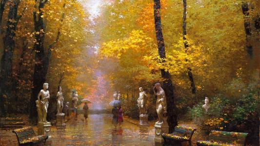 公园,雕塑,长凳,路径,落叶,人,雨伞,雨,秋天