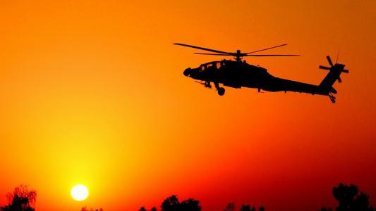 战斗机,直升机,日落,太阳