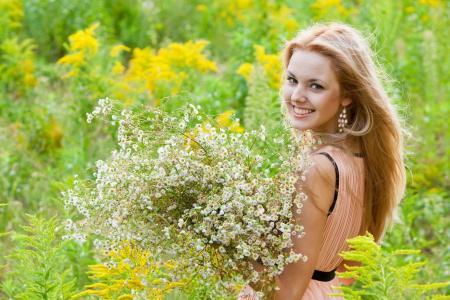 女孩,微笑,雏菊,花束,夏天