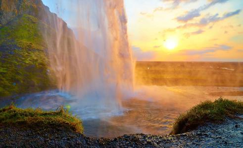 瀑布,阳光,池塘,岩石