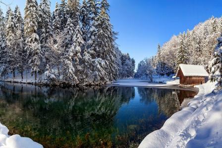 性质,冬天,河,房子,森林,雪