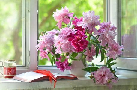 窗口,夏天,花瓶,鲜花,牡丹,书,钢笔,笔记本,玻璃