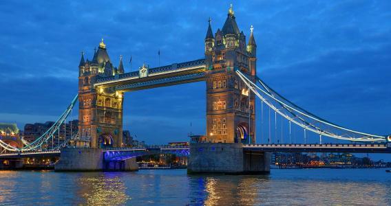 城市,桥梁,河,建筑物,灯,照明,路堤,天空,美女