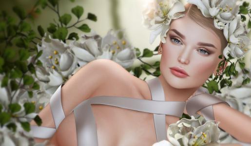 女孩,肖像,鲜花,花圈