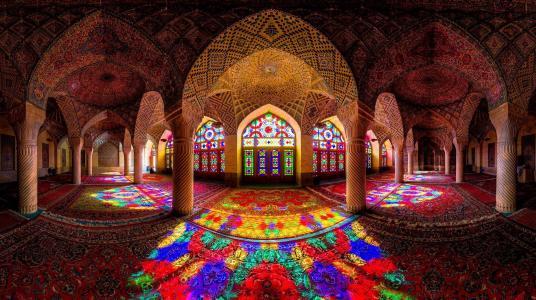 光,列,彩色玻璃,颜色,模式,地毯,大厅