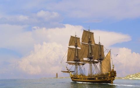 帆船,海,天空,灯塔