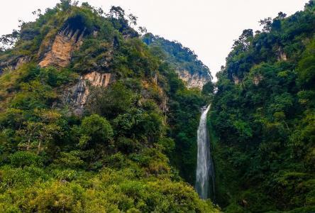 尼泊尔,高山,瀑布,绿树,树木,美景