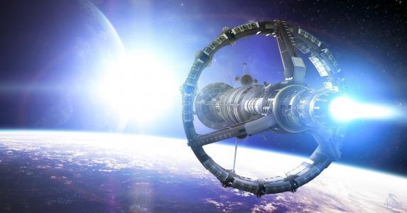 空间,星,行星,站,船,艺术,轨道