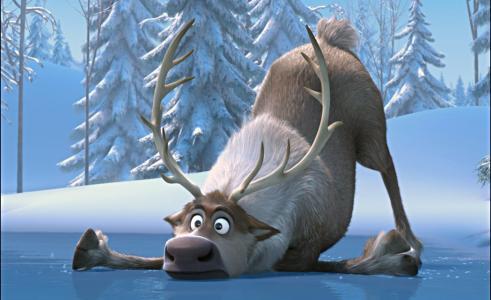 动漫,冬天,森林,情况,惊喜,河,森林,积极,鹿