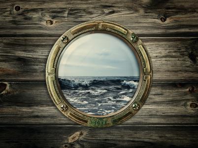 舷窗,海,波浪