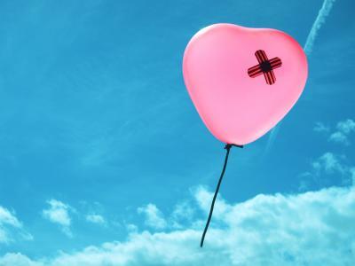 气球,天空,心,伤口