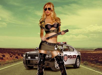女孩,汽车,腿,胸部